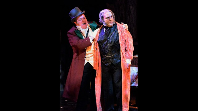 Theatre Three A CHRISTMAS CAROL Bobby Montaniz as the Ghost of Christmas Present & Jeffrey Sanzel as Scrooge'
